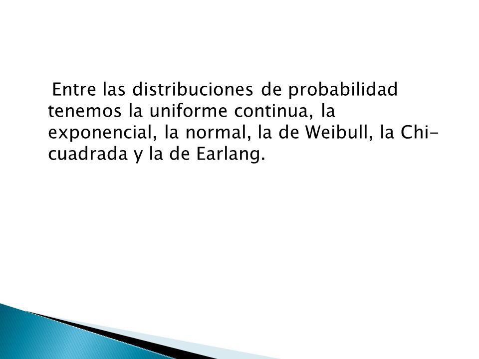 Entre las distribuciones de probabilidad tenemos la uniforme continua, la exponencial, la normal, la de Weibull, la Chi- cuadrada y la de Earlang.