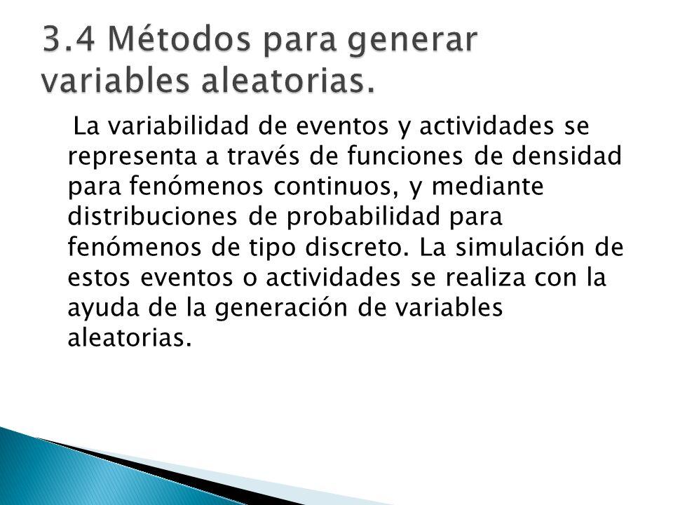 La variabilidad de eventos y actividades se representa a través de funciones de densidad para fenómenos continuos, y mediante distribuciones de probab