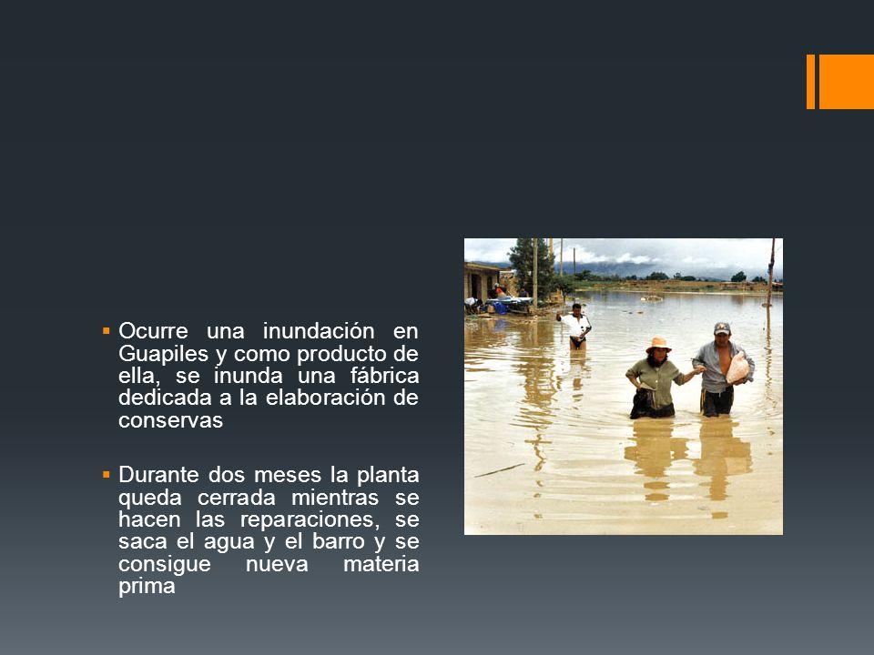 Ocurre una inundación en Guapiles y como producto de ella, se inunda una fábrica dedicada a la elaboración de conservas Durante dos meses la planta qu