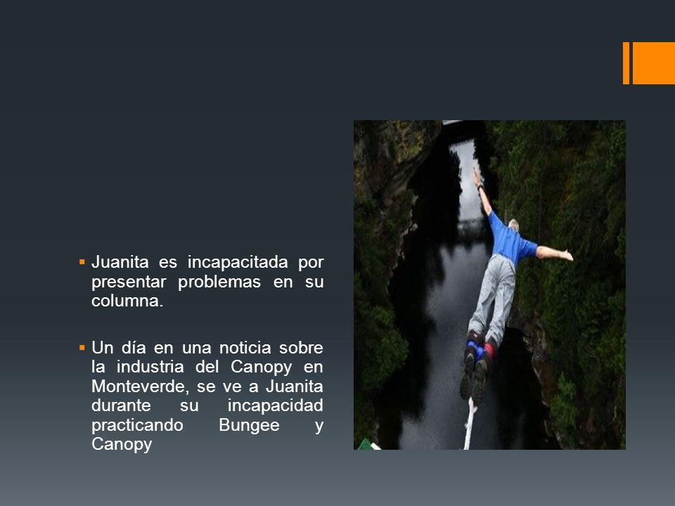 Juanita es incapacitada por presentar problemas en su columna. Un día en una noticia sobre la industria del Canopy en Monteverde, se ve a Juanita dura