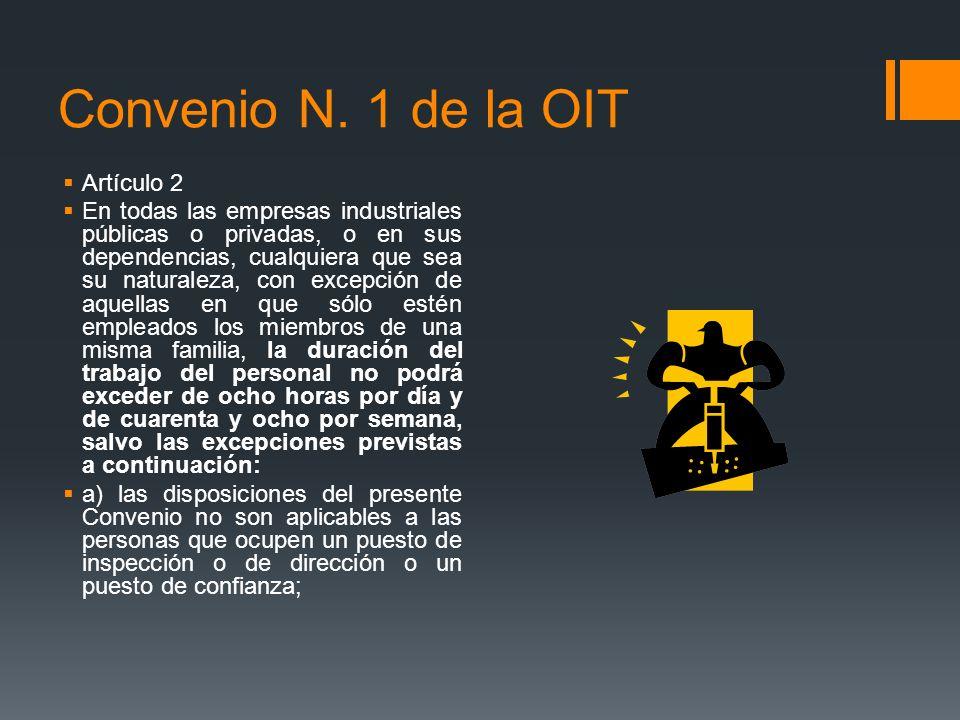 Convenio N. 1 de la OIT Artículo 2 En todas las empresas industriales públicas o privadas, o en sus dependencias, cualquiera que sea su naturaleza, co