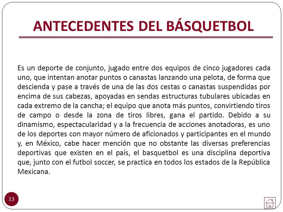 13 ANTECEDENTES DEL BÁSQUETBOL Es un deporte de conjunto, jugado entre dos equipos de cinco jugadores cada uno, que intentan anotar puntos o canastas