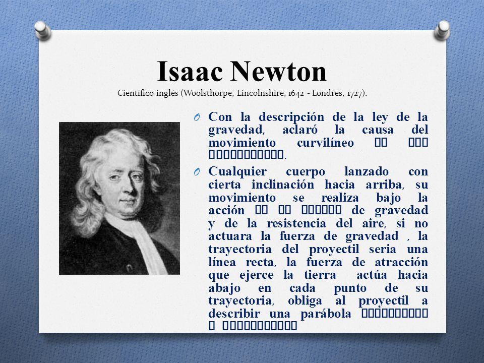 O Estudió y dedujo ecuaciones del lanzamiento de proyectiles. La trayectoria descrita por un proyectil es una curva específica llamada par á bola. El