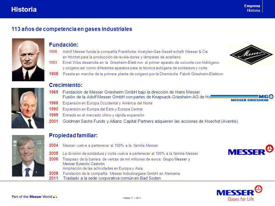 Messer 11 - 05/11 Historia 113 años de competencia en gases industriales Fundación: 1898 Adolf Messer funda la compañía Frankfurter Acetylen-Gas-Gesel
