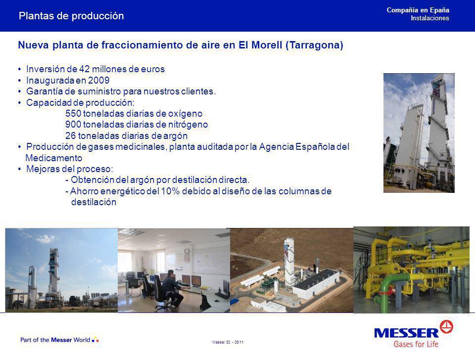 Messer 30 - 05/11 Plantas de producción Nueva planta de fraccionamiento de aire en El Morell (Tarragona) Inversión de 42 millones de euros Inaugurada