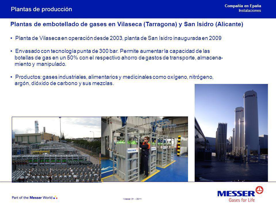 Messer 31 - 05/11 Plantas de producción Plantas de embotellado de gases en Vilaseca (Tarragona) y San Isidro (Alicante) Planta de Vilaseca en operació
