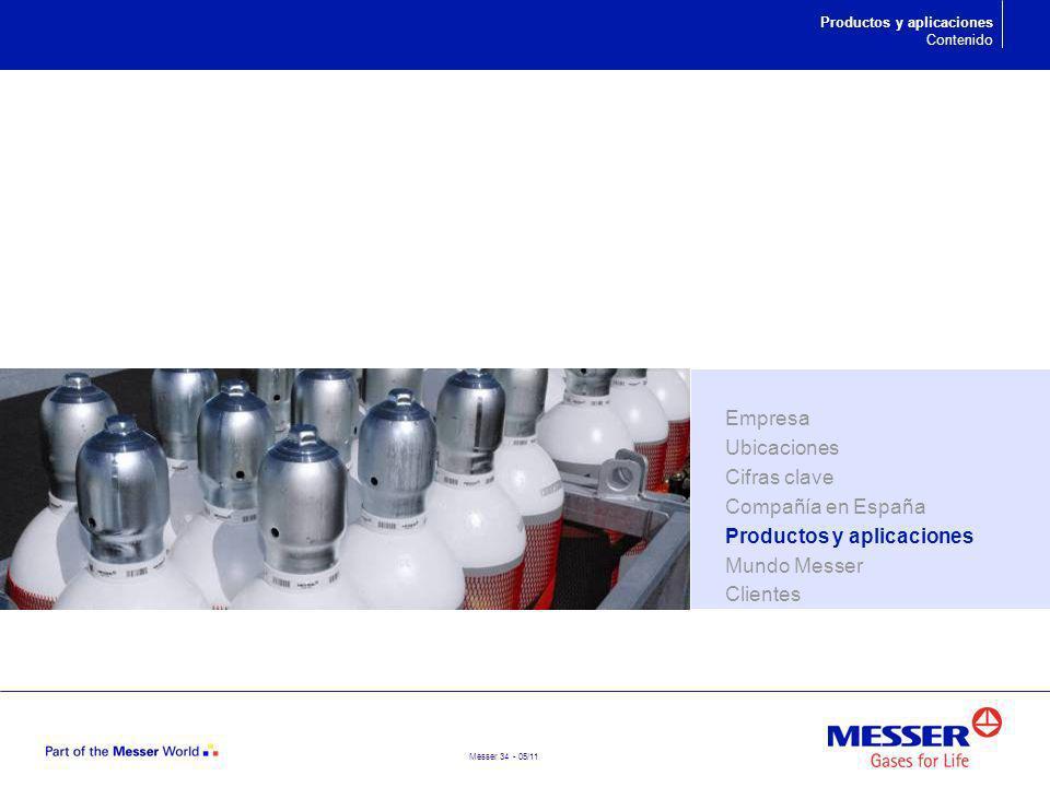 Messer 34 - 05/11 Productos y aplicaciones Contenido Empresa Ubicaciones Cifras clave Compañía en España Productos y aplicaciones Mundo Messer Cliente