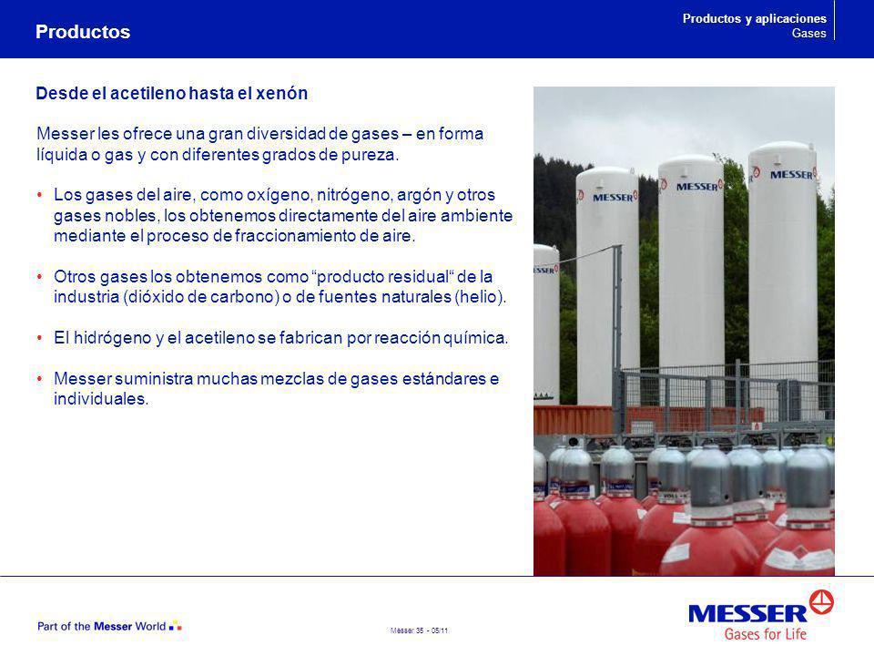 Messer 35 - 05/11 Desde el acetileno hasta el xenón Messer les ofrece una gran diversidad de gases – en forma líquida o gas y con diferentes grados de