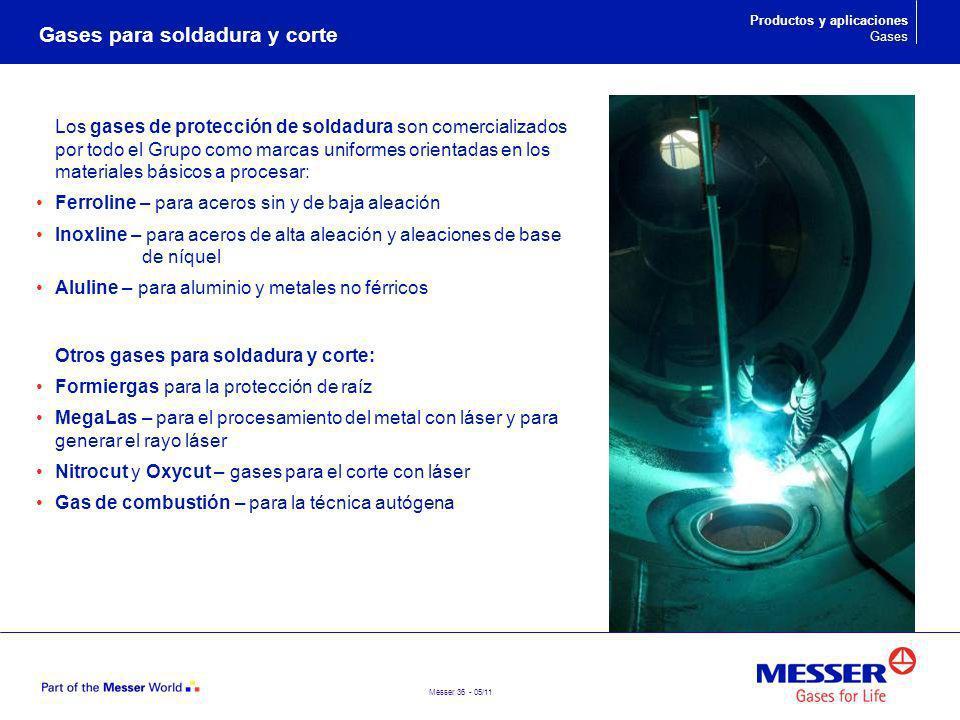 Messer 36 - 05/11 Gases para soldadura y corte Los gases de protección de soldadura son comercializados por todo el Grupo como marcas uniformes orient