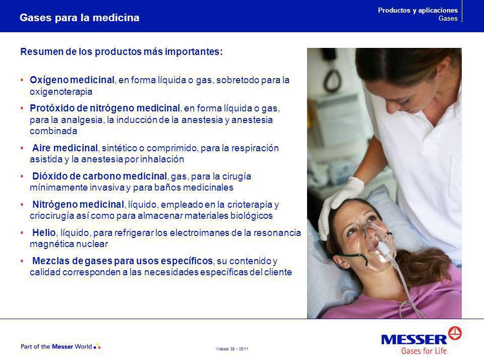 Messer 39 - 05/11 Gases para la medicina Productos y aplicaciones Gases Resumen de los productos más importantes: Oxígeno medicinal, en forma líquida