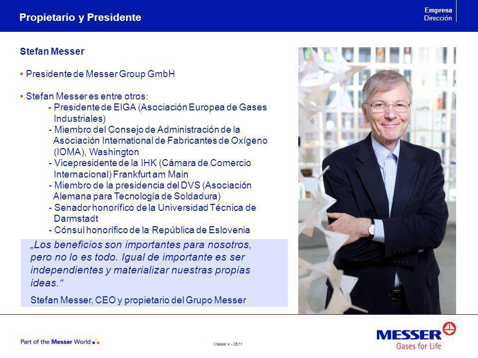 Messer 4 - 05/11 Propietario y Presidente Empresa Dirección Stefan Messer Presidente de Messer Group GmbH Stefan Messer es entre otros: - Presidente d