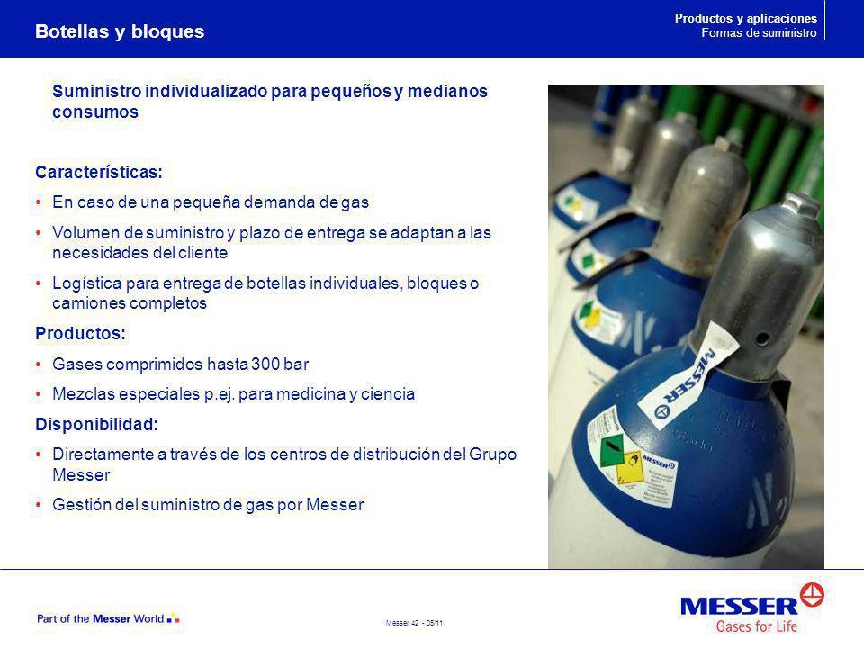 Messer 42 - 05/11 Suministro individualizado para pequeños y medianos consumos Características: En caso de una pequeña demanda de gas Volumen de sumin