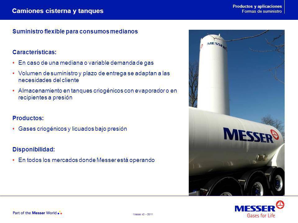 Messer 43 - 05/11 Suministro flexible para consumos medianos Características: En caso de una mediana o variable demanda de gas Volumen de suministro y