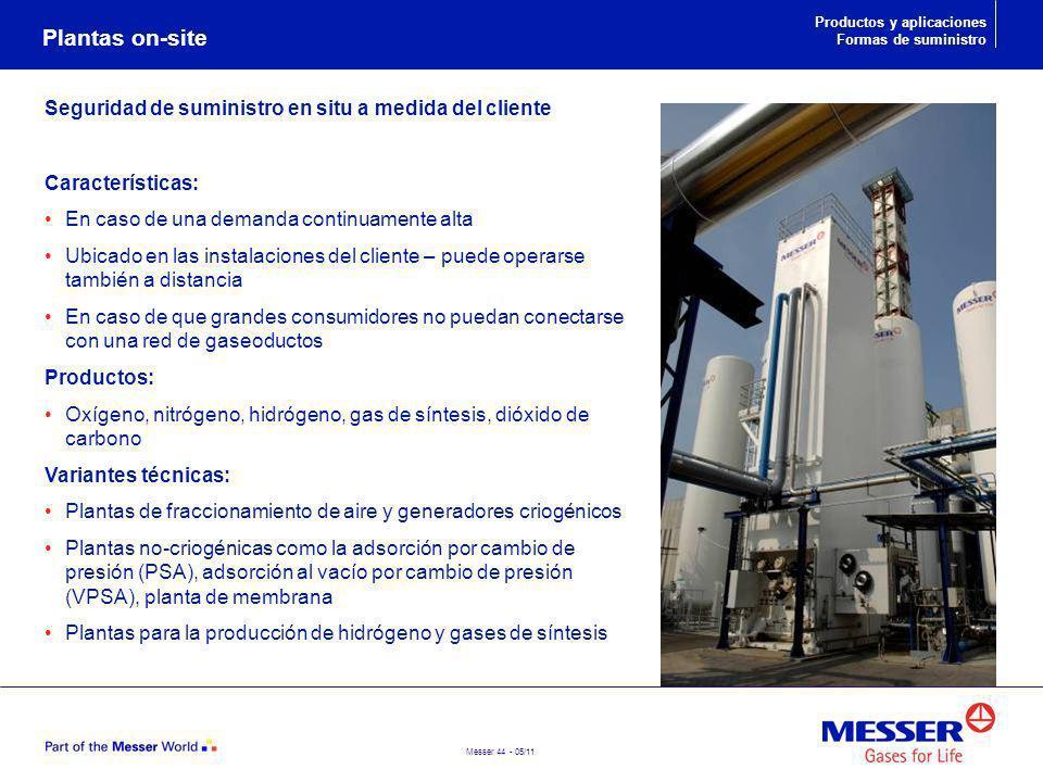 Messer 44 - 05/11 Seguridad de suministro en situ a medida del cliente Características: En caso de una demanda continuamente alta Ubicado en las insta