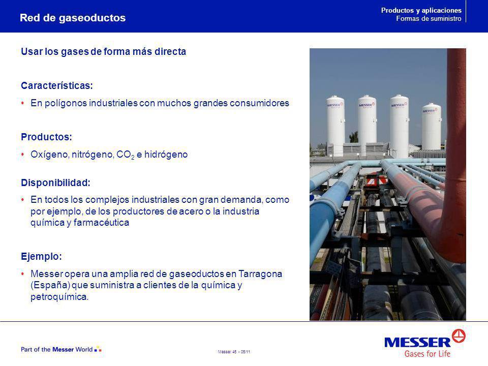 Messer 45 - 05/11 Usar los gases de forma más directa Características: En polígonos industriales con muchos grandes consumidores Productos: Oxígeno, n