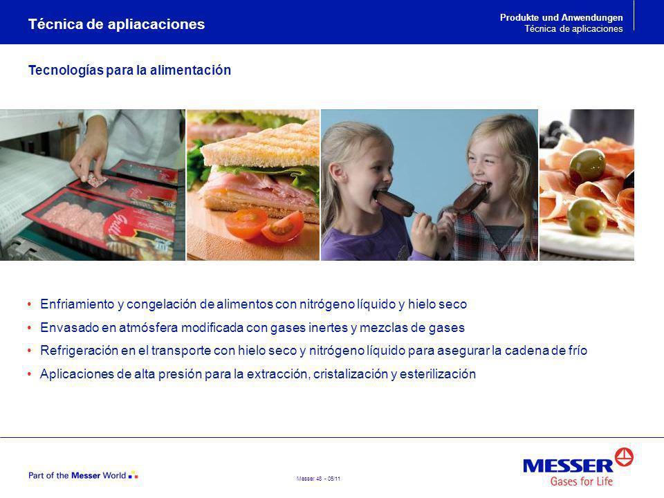 Messer 48 - 05/11 Técnica de apliacaciones Enfriamiento y congelación de alimentos con nitrógeno líquido y hielo seco Envasado en atmósfera modificada