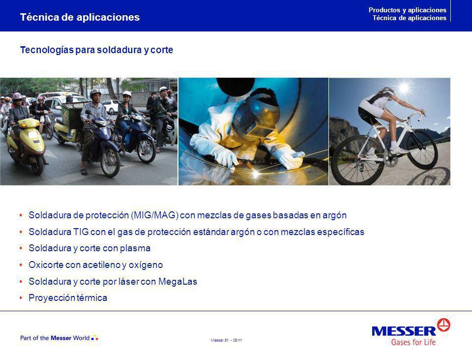 Messer 51 - 05/11 Soldadura de protección (MIG/MAG) con mezclas de gases basadas en argón Soldadura TIG con el gas de protección estándar argón o con
