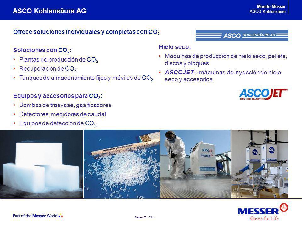 Messer 56 - 05/11 Ofrece soluciones individuales y completas con CO 2 Soluciones con CO 2 : Plantas de producción de CO 2 Recuperación de CO 2 Tanques