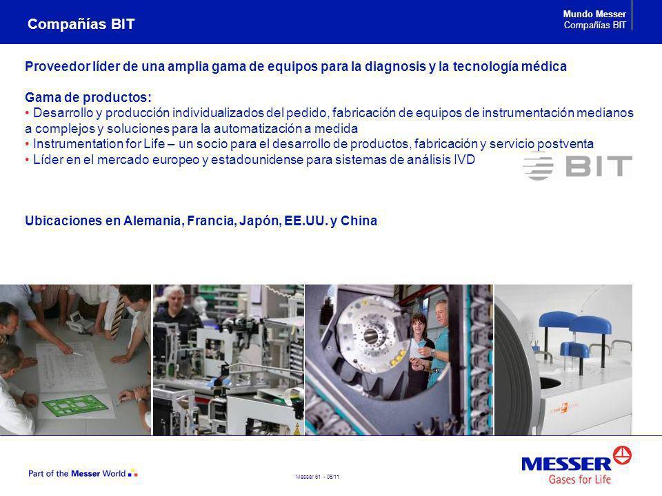 Messer 61 - 05/11 Compañías BIT Mundo Messer Compañías BIT Proveedor líder de una amplia gama de equipos para la diagnosis y la tecnología médica Gama