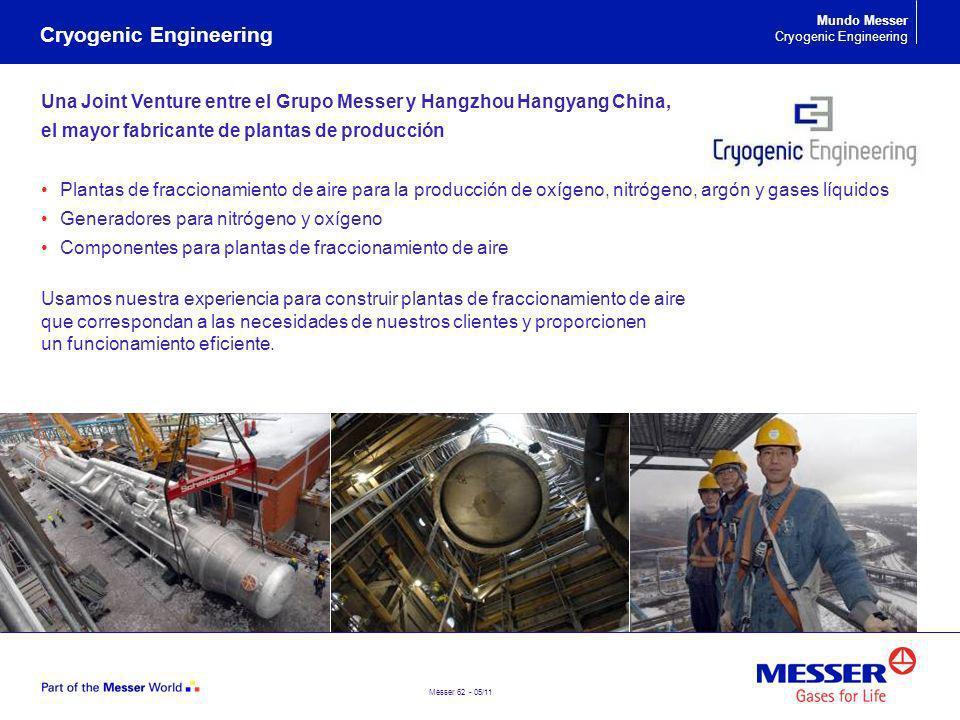 Messer 62 - 05/11 Una Joint Venture entre el Grupo Messer y Hangzhou Hangyang China, el mayor fabricante de plantas de producción Plantas de fracciona