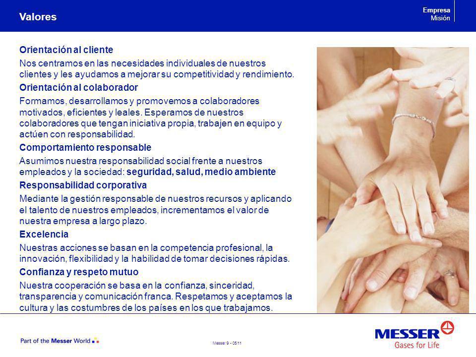 Messer 9 - 05/11 Orientación al cliente Nos centramos en las necesidades individuales de nuestros clientes y les ayudamos a mejorar su competitividad
