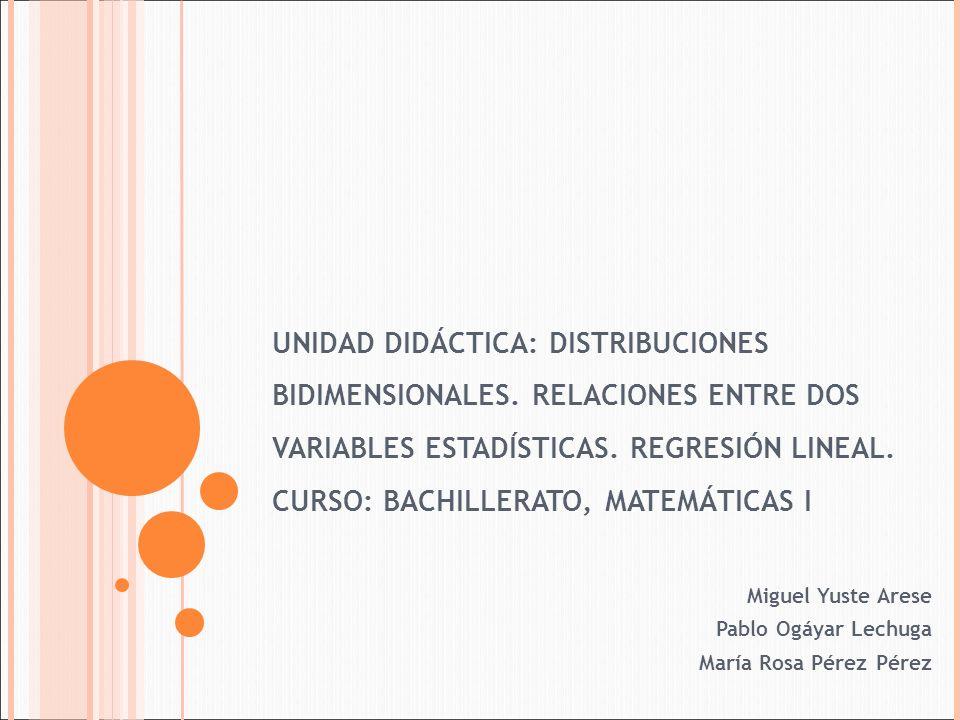 UNIDAD DIDÁCTICA: DISTRIBUCIONES BIDIMENSIONALES. RELACIONES ENTRE DOS VARIABLES ESTADÍSTICAS. REGRESIÓN LINEAL. CURSO: BACHILLERATO, MATEMÁTICAS I Mi