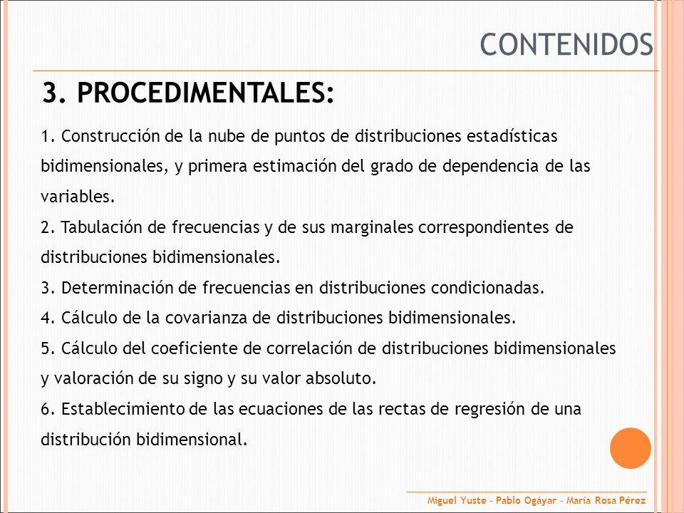 3. PROCEDIMENTALES: 1. Construcción de la nube de puntos de distribuciones estadísticas bidimensionales, y primera estimación del grado de dependencia