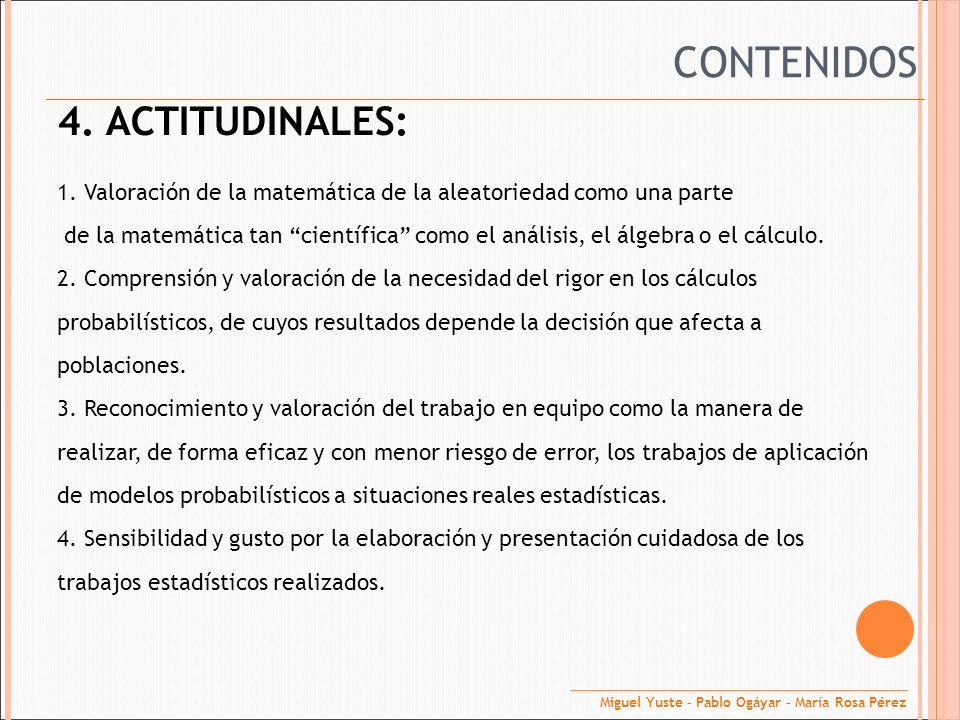 4. ACTITUDINALES: 1. Valoración de la matemática de la aleatoriedad como una parte de la matemática tan científica como el análisis, el álgebra o el c
