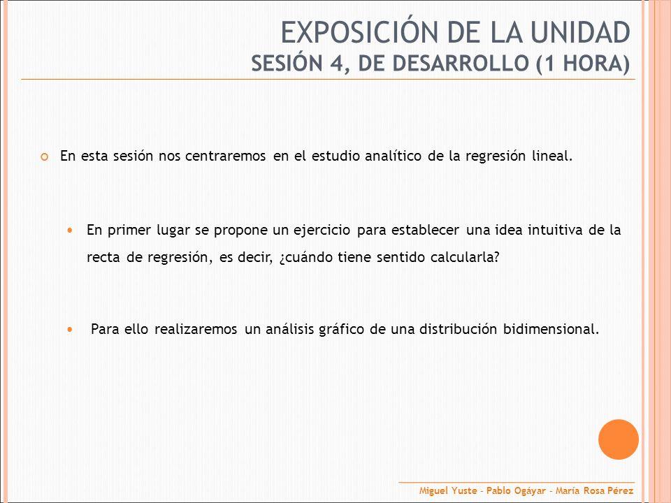 EXPOSICIÓN DE LA UNIDAD En esta sesión nos centraremos en el estudio analítico de la regresión lineal. En primer lugar se propone un ejercicio para es