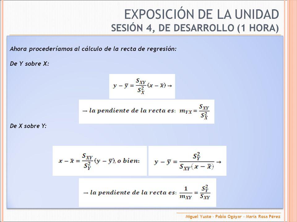 EXPOSICIÓN DE LA UNIDAD SESIÓN 4, DE DESARROLLO (1 HORA) Ahora procederíamos al cálculo de la recta de regresión: De Y sobre X: De X sobre Y: Miguel Y