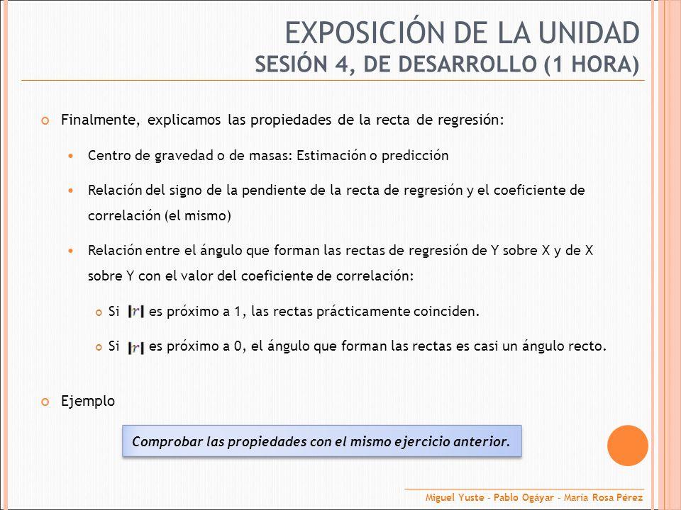 EXPOSICIÓN DE LA UNIDAD Finalmente, explicamos las propiedades de la recta de regresión: Centro de gravedad o de masas: Estimación o predicción Relaci