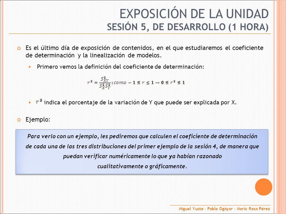EXPOSICIÓN DE LA UNIDAD Es el último día de exposición de contenidos, en el que estudiaremos el coeficiente de determinación y la linealización de mod