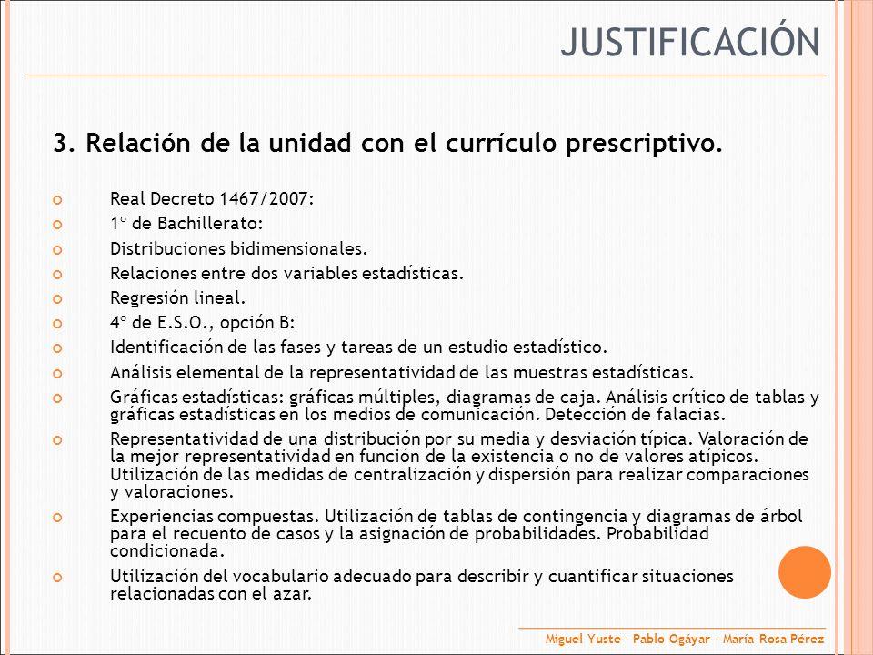 3. Relación de la unidad con el currículo prescriptivo. Real Decreto 1467/2007: 1º de Bachillerato: Distribuciones bidimensionales. Relaciones entre d