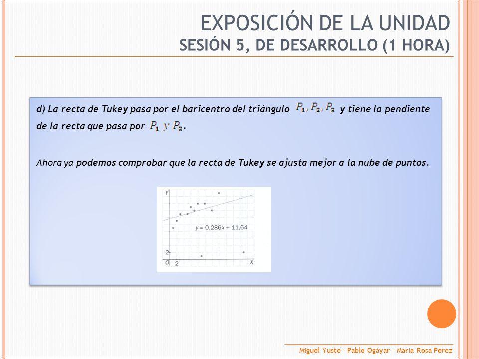EXPOSICIÓN DE LA UNIDAD SESIÓN 5, DE DESARROLLO (1 HORA) d) La recta de Tukey pasa por el baricentro del triángulo y tiene la pendiente de la recta qu
