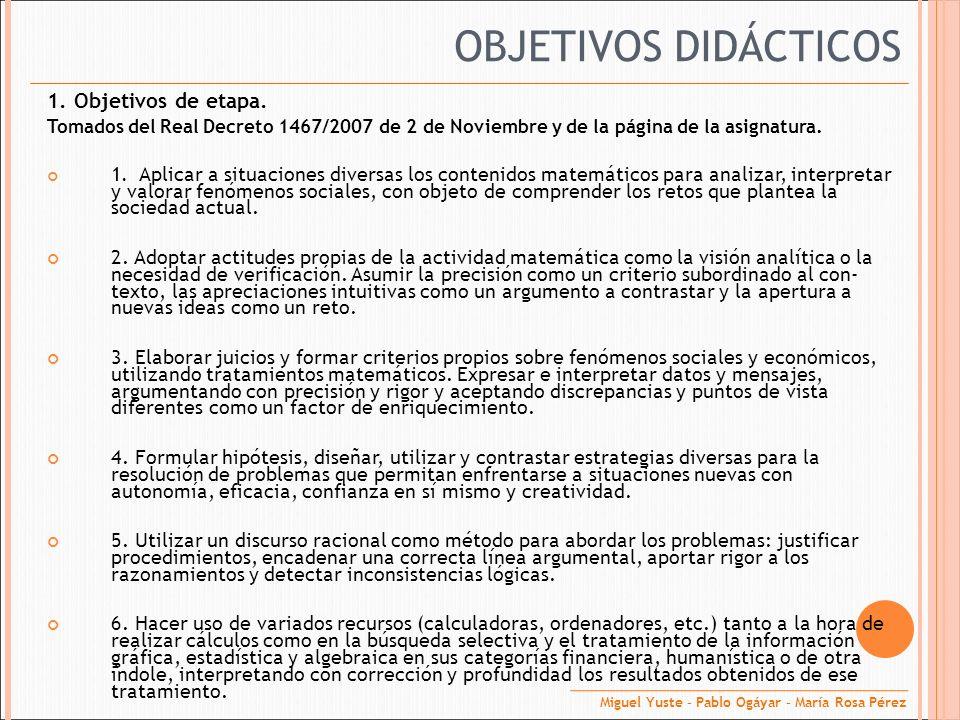 1. Objetivos de etapa. Tomados del Real Decreto 1467/2007 de 2 de Noviembre y de la página de la asignatura. 1. Aplicar a situaciones diversas los con