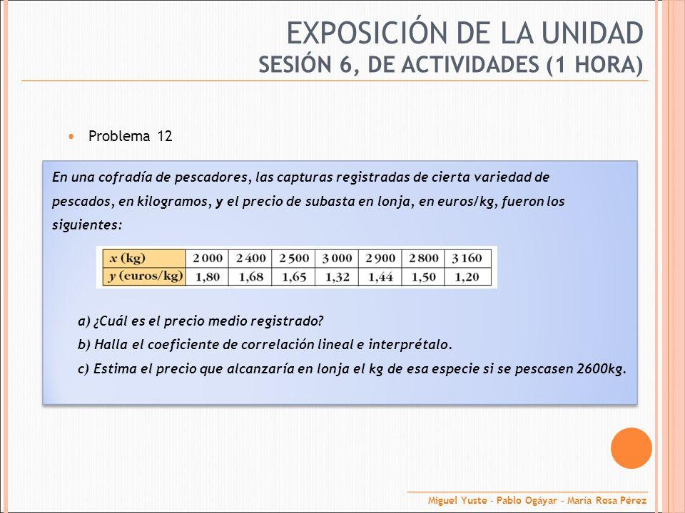 EXPOSICIÓN DE LA UNIDAD Problema 12 SESIÓN 6, DE ACTIVIDADES (1 HORA) En una cofradía de pescadores, las capturas registradas de cierta variedad de pe