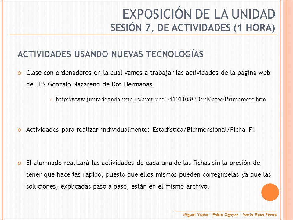 EXPOSICIÓN DE LA UNIDAD ACTIVIDADES USANDO NUEVAS TECNOLOGÍAS Clase con ordenadores en la cual vamos a trabajar las actividades de la página web del I