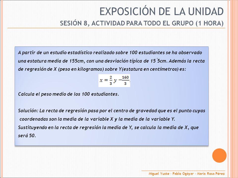 EXPOSICIÓN DE LA UNIDAD SESIÓN 8, ACTIVIDAD PARA TODO EL GRUPO (1 HORA) A partir de un estudio estadístico realizado sobre 100 estudiantes se ha obser