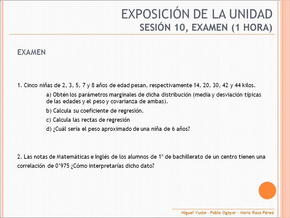 EXPOSICIÓN DE LA UNIDAD EXAMEN 1. Cinco niñas de 2, 3, 5, 7 y 8 años de edad pesan, respectivamente 14, 20, 30, 42 y 44 kilos. a) Obtén los parámetros