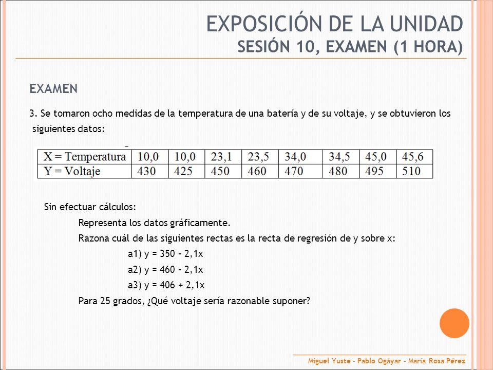 EXPOSICIÓN DE LA UNIDAD EXAMEN 3. Se tomaron ocho medidas de la temperatura de una batería y de su voltaje, y se obtuvieron los siguientes datos: Sin