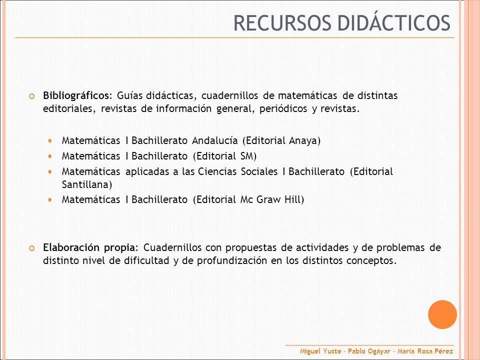 RECURSOS DIDÁCTICOS Bibliográficos: Guías didácticas, cuadernillos de matemáticas de distintas editoriales, revistas de información general, periódico