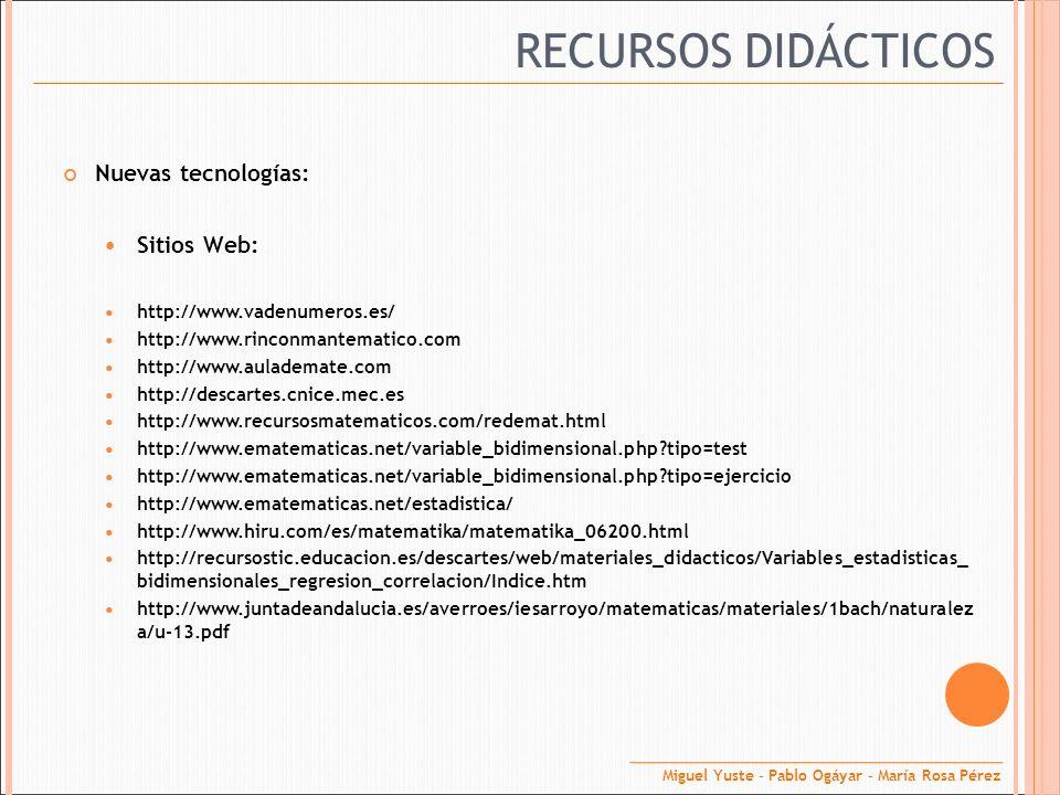 RECURSOS DIDÁCTICOS Nuevas tecnologías: Sitios Web: http://www.vadenumeros.es/ http://www.rinconmantematico.com http://www.aulademate.com http://desca