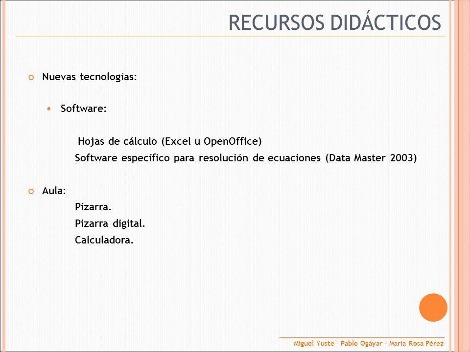 RECURSOS DIDÁCTICOS Nuevas tecnologías: Software: Hojas de cálculo (Excel u OpenOffice) Software específico para resolución de ecuaciones (Data Master