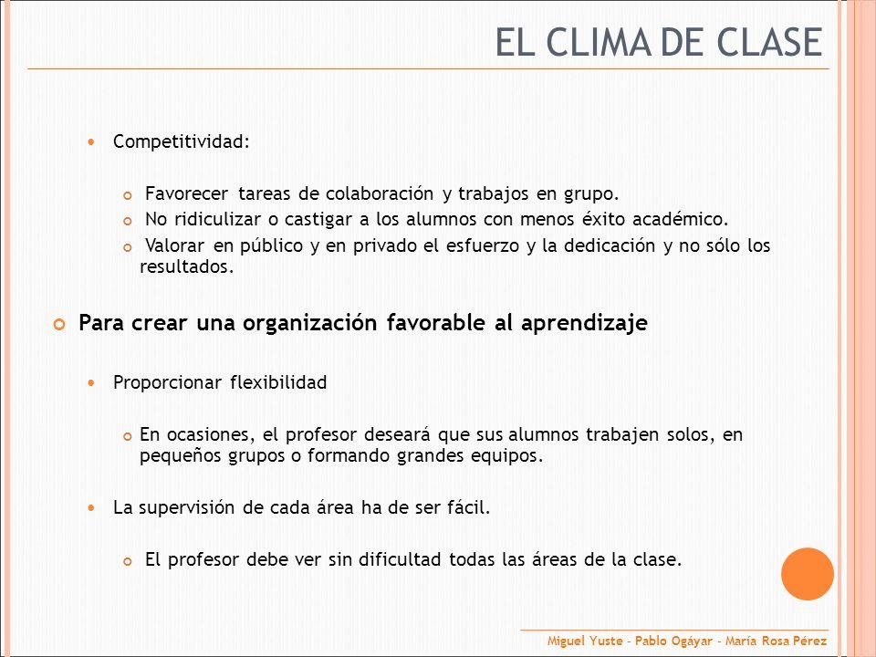 EL CLIMA DE CLASE Competitividad: Favorecer tareas de colaboración y trabajos en grupo. No ridiculizar o castigar a los alumnos con menos éxito académ