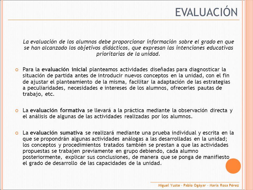 EVALUACIÓN La evaluación de los alumnos debe proporcionar información sobre el grado en que se han alcanzado los objetivos didácticos, que expresan la