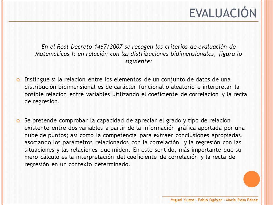 EVALUACIÓN En el Real Decreto 1467/2007 se recogen los criterios de evaluación de Matemáticas I; en relación con las distribuciones bidimensionales, f