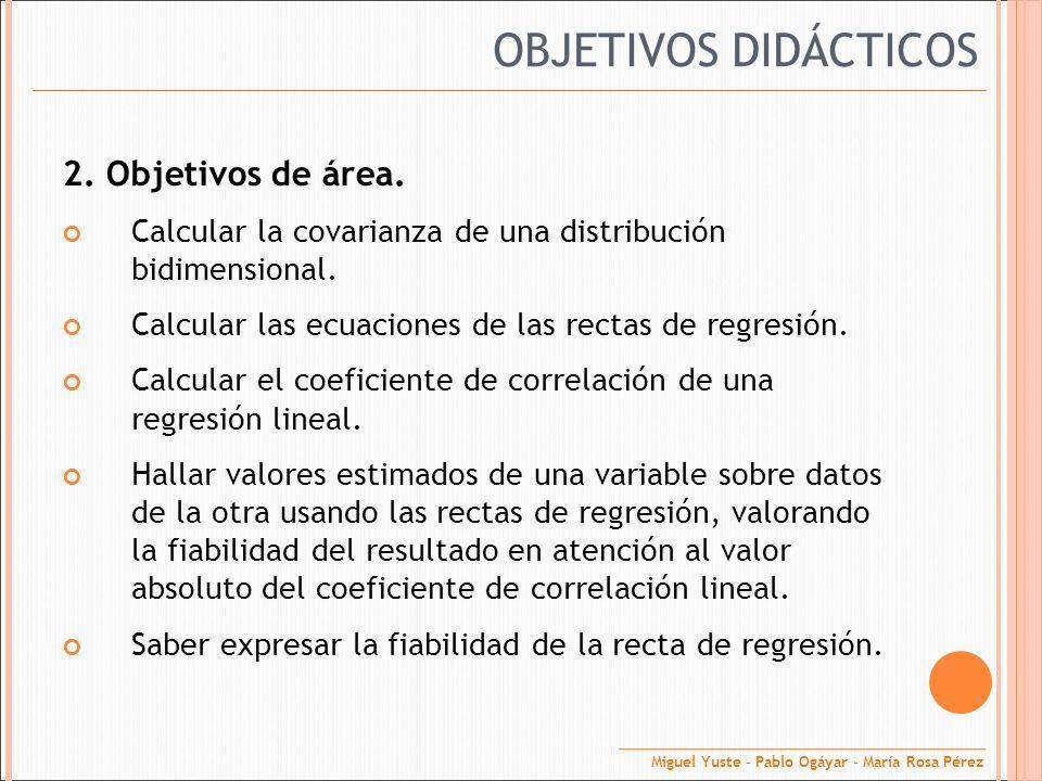 2. Objetivos de área. Calcular la covarianza de una distribución bidimensional. Calcular las ecuaciones de las rectas de regresión. Calcular el coefic