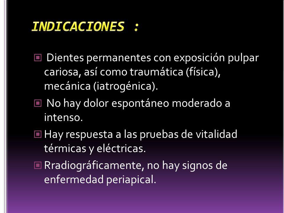 Dientes permanentes con exposición pulpar cariosa, así como traumática (física), mecánica (iatrogénica). No hay dolor espontáneo moderado a intenso. H
