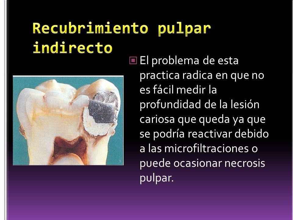 El problema de esta practica radica en que no es fácil medir la profundidad de la lesión cariosa que queda ya que se podría reactivar debido a las mic