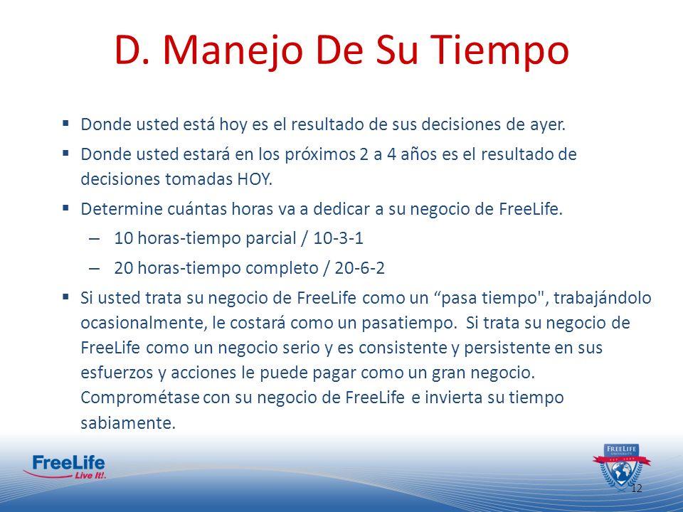 13 D.Manejo De Su Tiempo Manejo efectivo del tiempo es determinado por: – Su disciplina.